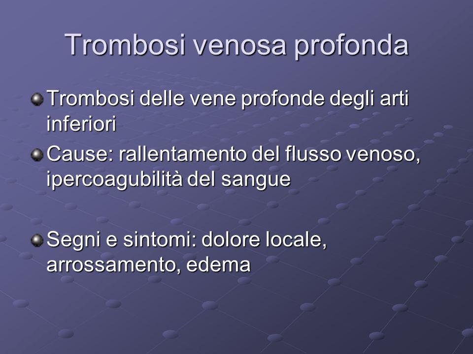 Trombosi venosa profonda Trombosi delle vene profonde degli arti inferiori Cause: rallentamento del flusso venoso, ipercoagubilità del sangue Segni e sintomi: dolore locale, arrossamento, edema