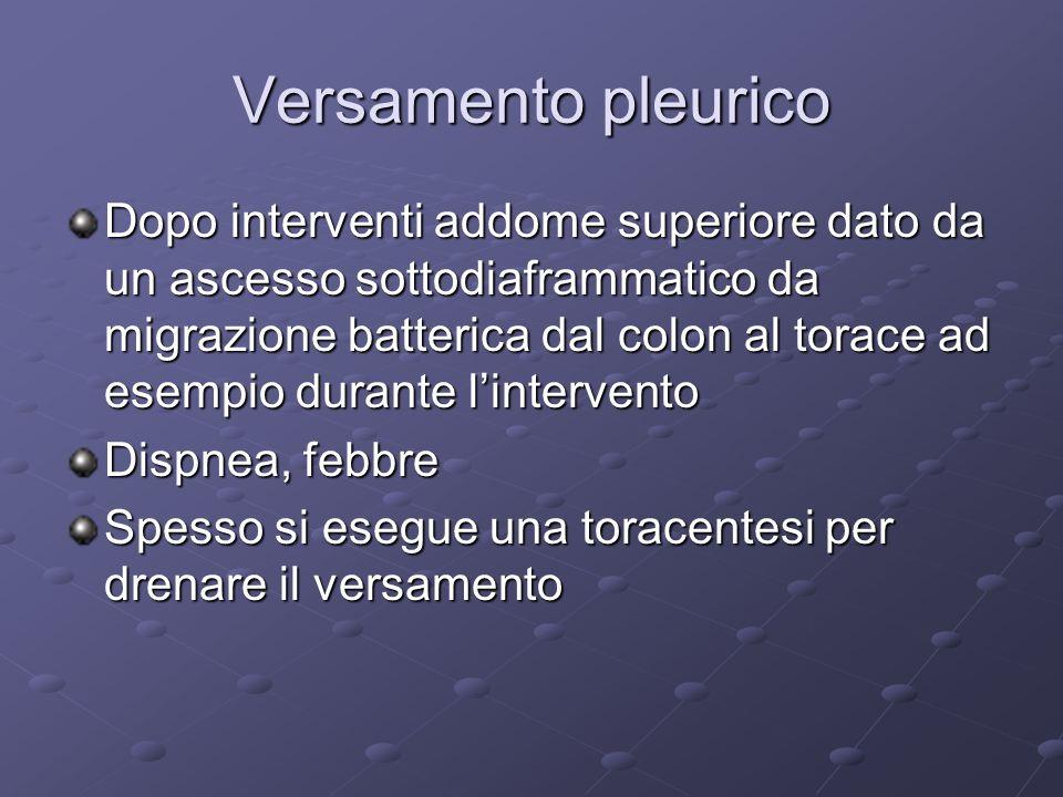 Versamento pleurico Dopo interventi addome superiore dato da un ascesso sottodiaframmatico da migrazione batterica dal colon al torace ad esempio dura