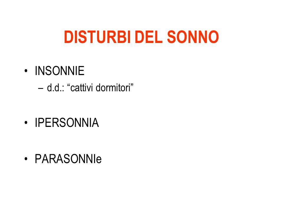 DISTURBI DEL SONNO INSONNIE –d.d.: cattivi dormitori IPERSONNIA PARASONNIe