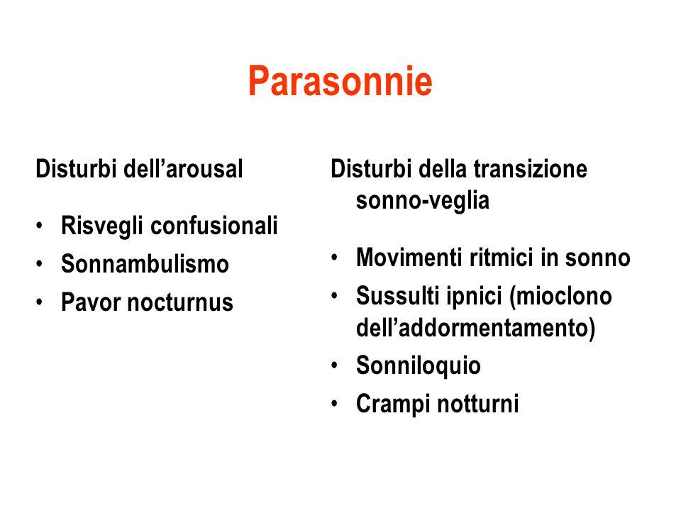 Parasonnie Disturbi dellarousal Risvegli confusionali Sonnambulismo Pavor nocturnus Disturbi della transizione sonno-veglia Movimenti ritmici in sonno