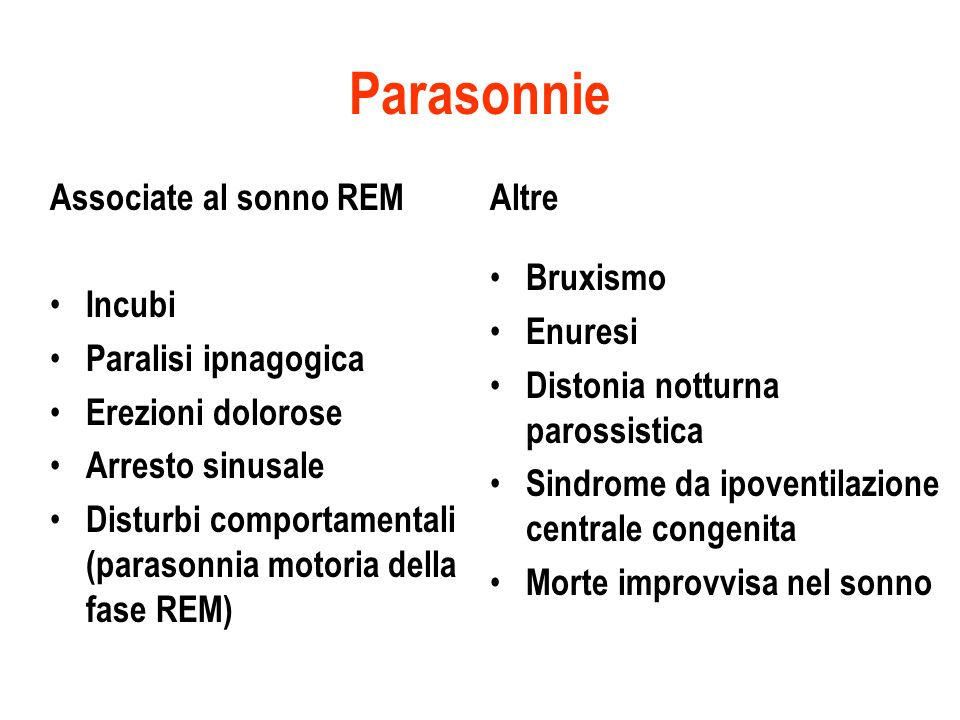 Parasonnie Associate al sonno REM Incubi Paralisi ipnagogica Erezioni dolorose Arresto sinusale Disturbi comportamentali (parasonnia motoria della fas