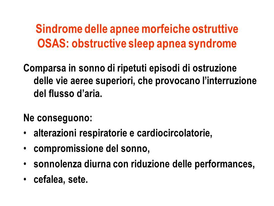 Sindrome delle apnee morfeiche ostruttive OSAS: obstructive sleep apnea syndrome Comparsa in sonno di ripetuti episodi di ostruzione delle vie aeree s