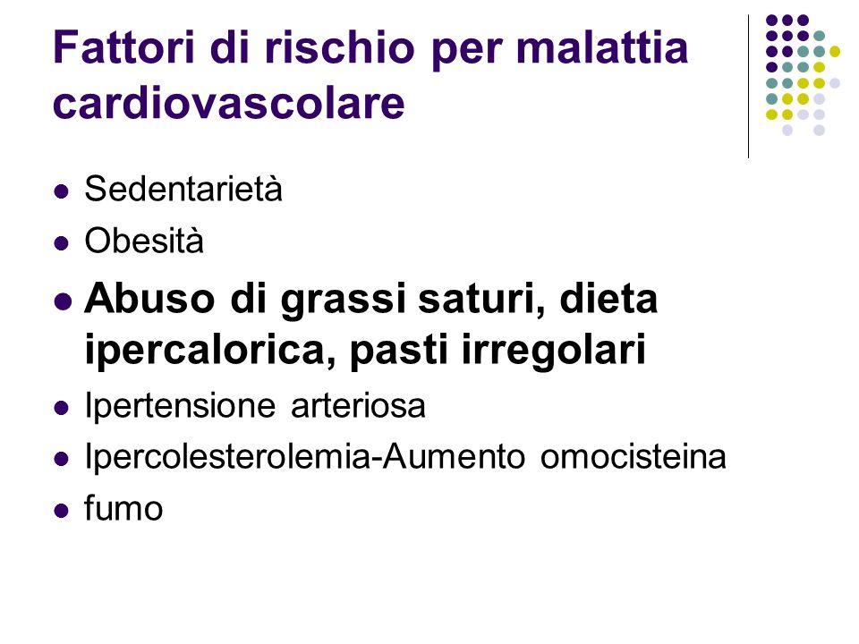 Fattori di rischio per malattia cardiovascolare Sedentarietà Obesità Abuso di grassi saturi, dieta ipercalorica, pasti irregolari Ipertensione arteriosa Ipercolesterolemia-Aumento omocisteina fumo