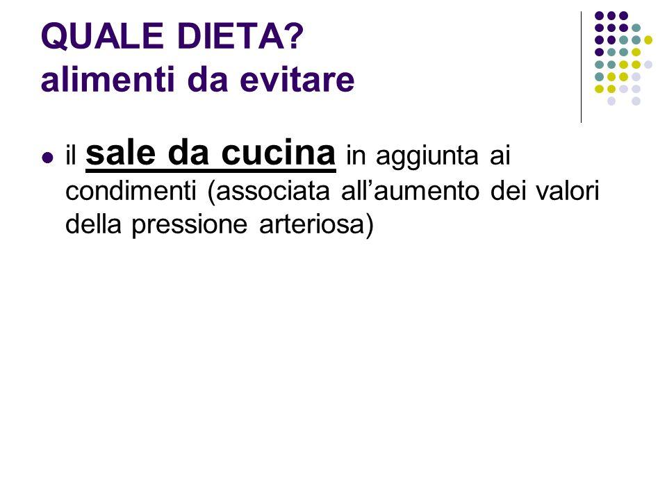 il sale da cucina in aggiunta ai condimenti (associata allaumento dei valori della pressione arteriosa) QUALE DIETA? alimenti da evitare