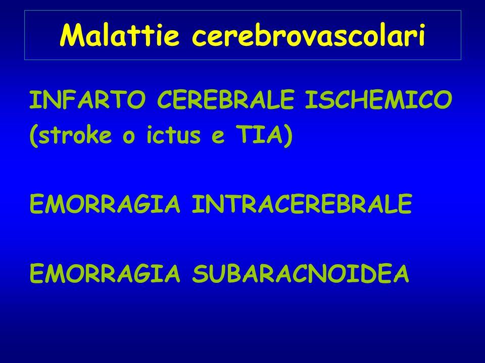 Malattie cerebrovascolari INFARTO CEREBRALE ISCHEMICO (stroke o ictus e TIA) EMORRAGIA INTRACEREBRALE EMORRAGIA SUBARACNOIDEA