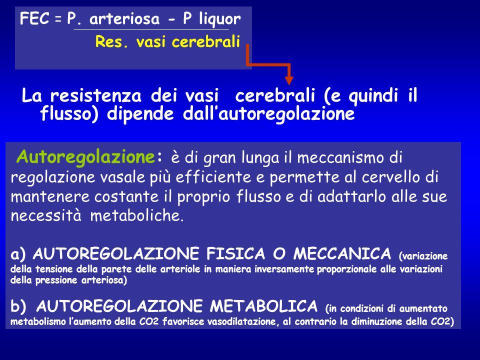 La resistenza dei vasi cerebrali (e quindi il flusso) dipende dallautoregolazione FEC = P. arteriosa - P liquor Res. vasi cerebrali Autoregolazione: è