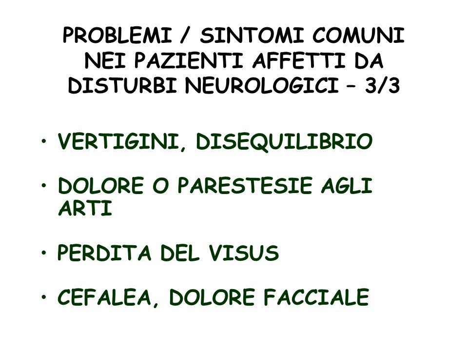 PROBLEMI / SINTOMI COMUNI NEI PAZIENTI AFFETTI DA DISTURBI NEUROLOGICI – 3/3 VERTIGINI, DISEQUILIBRIO DOLORE O PARESTESIE AGLI ARTI PERDITA DEL VISUS