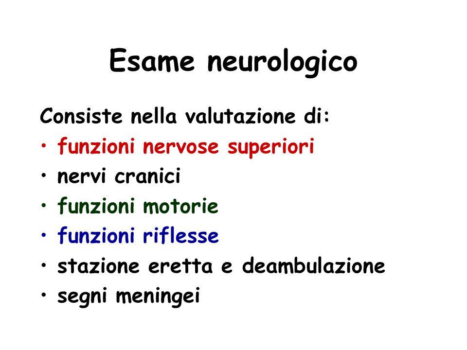 Esame neurologico Consiste nella valutazione di: funzioni nervose superiori nervi cranici funzioni motorie funzioni riflesse stazione eretta e deambul