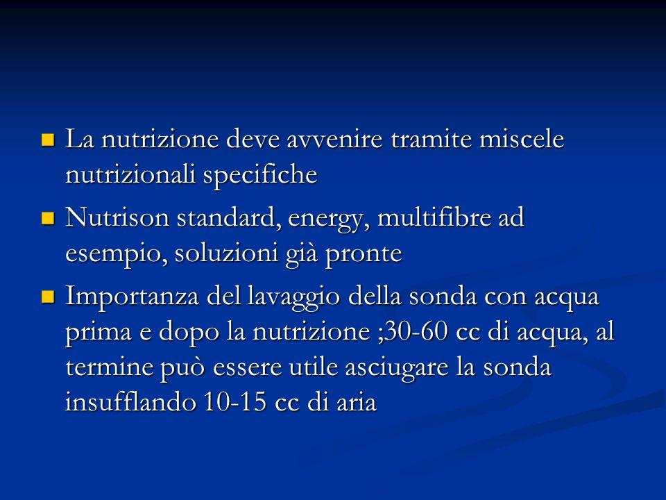 Effetti legati alla somministrazione di nutrizione enterale Diarrea: ridurre la velocità dinfusione Diarrea: ridurre la velocità dinfusione Stipsi: aumentare la velocità Stipsi: aumentare la velocità Nausea-vomito= sospendo linfusione Nausea-vomito= sospendo linfusione