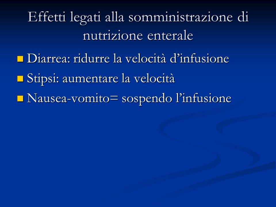 Effetti legati alla somministrazione di nutrizione enterale Diarrea: ridurre la velocità dinfusione Diarrea: ridurre la velocità dinfusione Stipsi: au