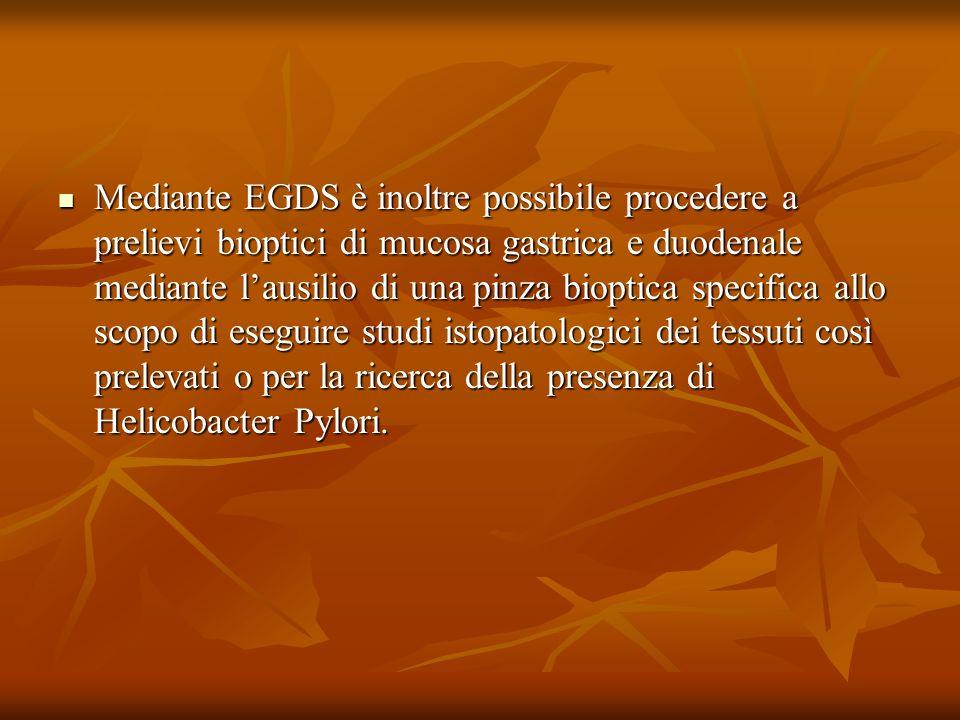 Mediante EGDS è inoltre possibile procedere a prelievi bioptici di mucosa gastrica e duodenale mediante lausilio di una pinza bioptica specifica allo