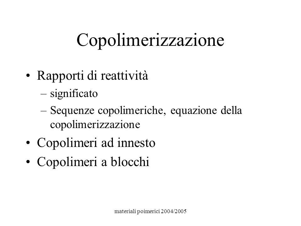 materiali poimerici 2004/2005 Copolimerizzazione Rapporti di reattività –significato –Sequenze copolimeriche, equazione della copolimerizzazione Copol