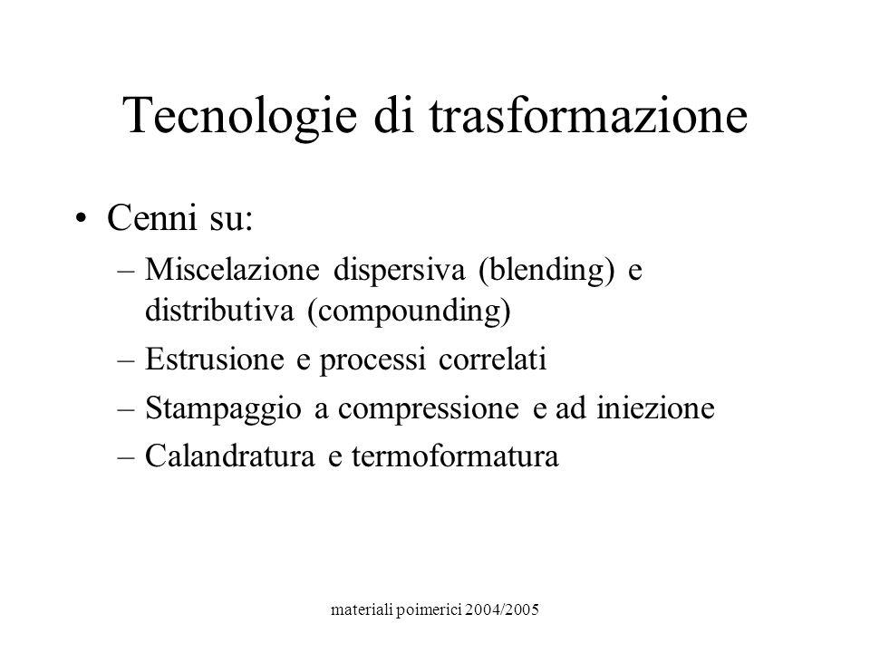 materiali poimerici 2004/2005 Tecnologie di trasformazione Cenni su: –Miscelazione dispersiva (blending) e distributiva (compounding) –Estrusione e pr