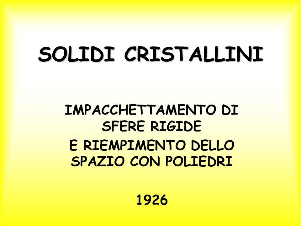 SOLIDI CRISTALLINI IMPACCHETTAMENTO DI SFERE RIGIDE E RIEMPIMENTO DELLO SPAZIO CON POLIEDRI 1926