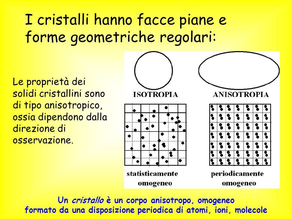 I cristalli hanno facce piane e forme geometriche regolari: Le proprietà dei solidi cristallini sono di tipo anisotropico, ossia dipendono dalla direz