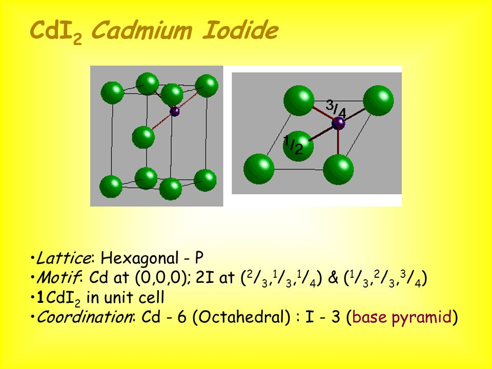 CdI 2 Cadmium Iodide Lattice: Hexagonal - P Motif: Cd at (0,0,0); 2I at ( 2 / 3, 1 / 3, 1 / 4 ) & ( 1 / 3, 2 / 3, 3 / 4 ) 1CdI 2 in unit cell Coordina