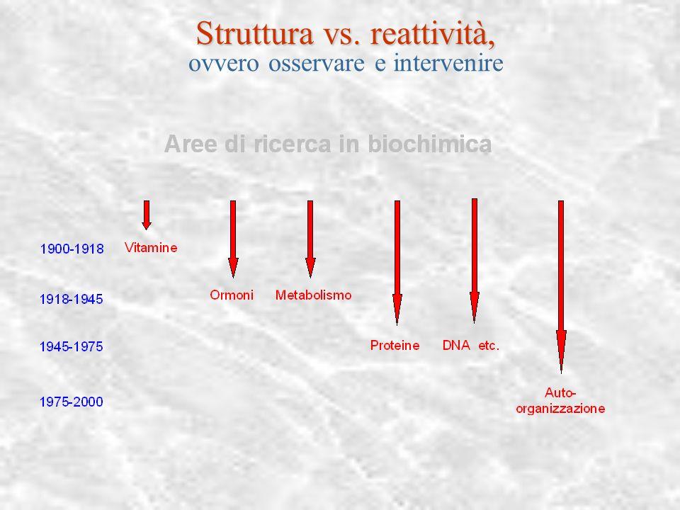 Trompe l'œil: struttura vs. reattività, Osservare vs. Intervenire La chimica degli ultimi decenni, supramolecolare, combinatoriale, non-lineare ha aff