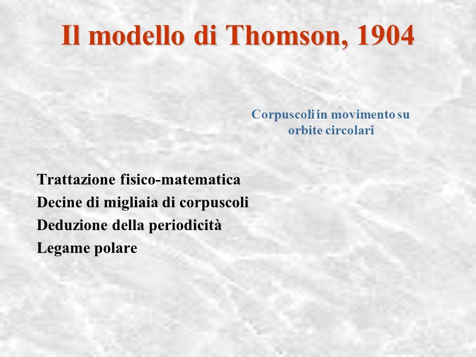 Chimica e fisica dell'atomo, 1900-1918 I modelli atomici e del legame Il modello di ThomsonIl modello di Thomson, 1904 Il modello di Abegg, 1904 Il mo