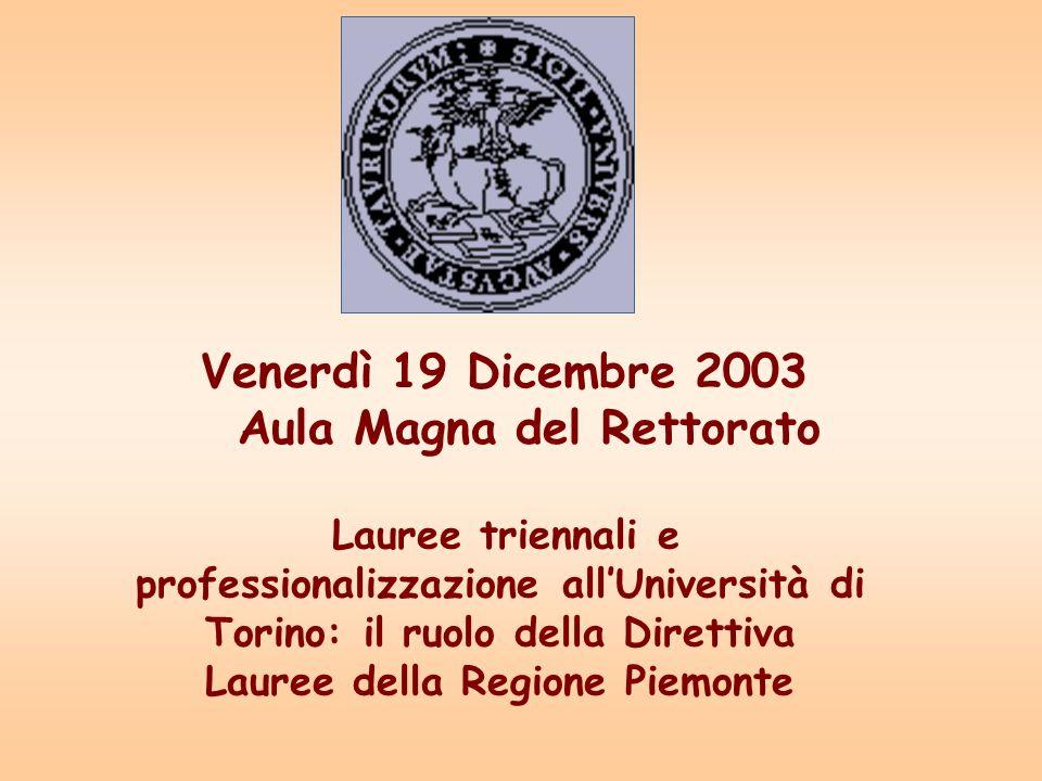 Lauree triennali e professionalizzazione allUniversità di Torino: il ruolo della Direttiva Lauree della Regione Piemonte Venerdì 19 Dicembre 2003 Aula Magna del Rettorato