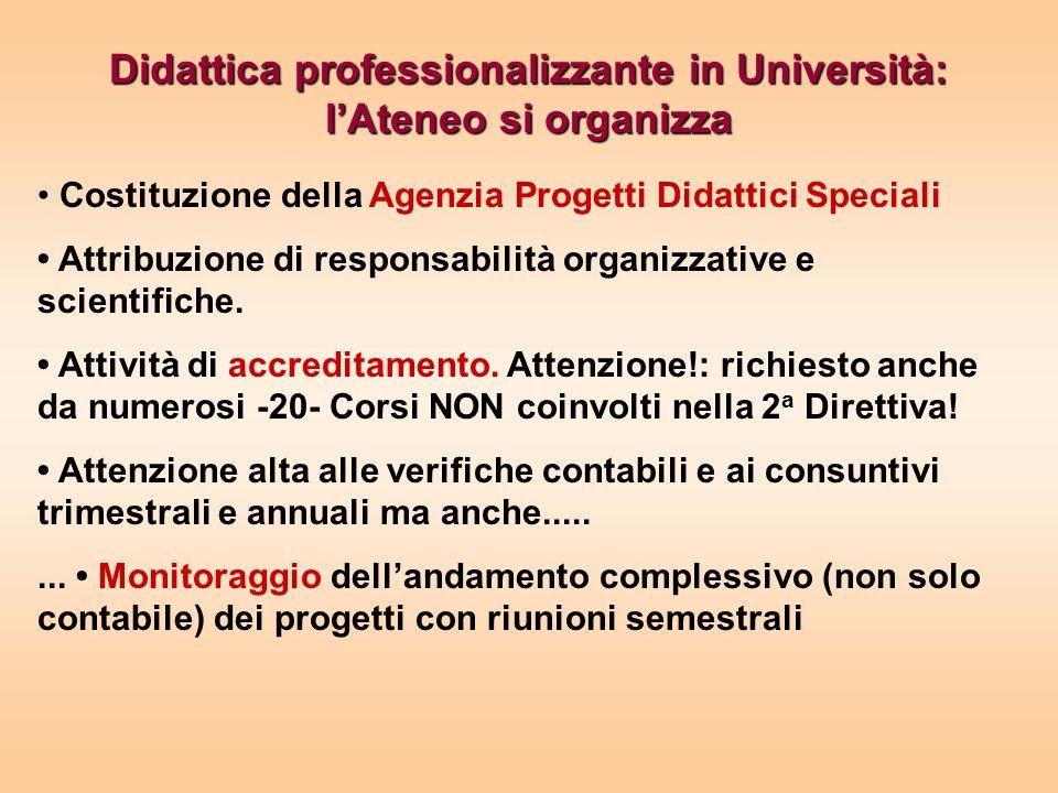 Didattica professionalizzante in Università: lAteneo si organizza Costituzione della Agenzia Progetti Didattici Speciali Attribuzione di responsabilità organizzative e scientifiche.