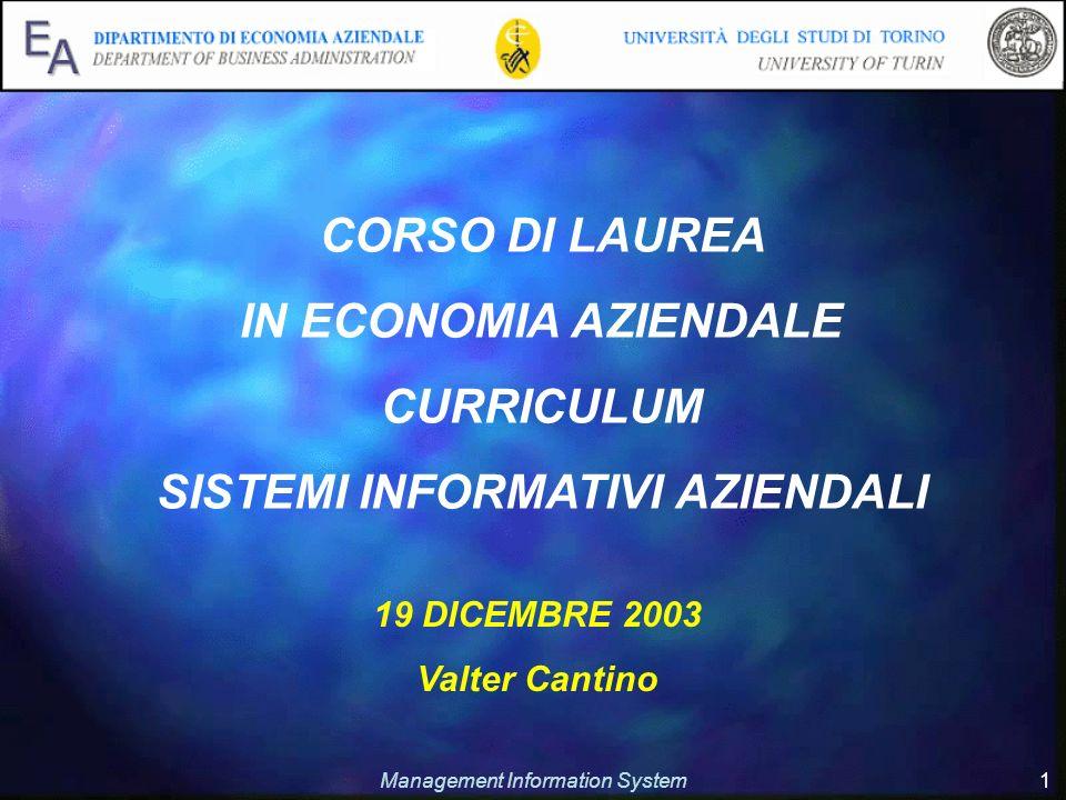 Management Information System 1 19 DICEMBRE 2003 Valter Cantino CORSO DI LAUREA IN ECONOMIA AZIENDALE CURRICULUM SISTEMI INFORMATIVI AZIENDALI