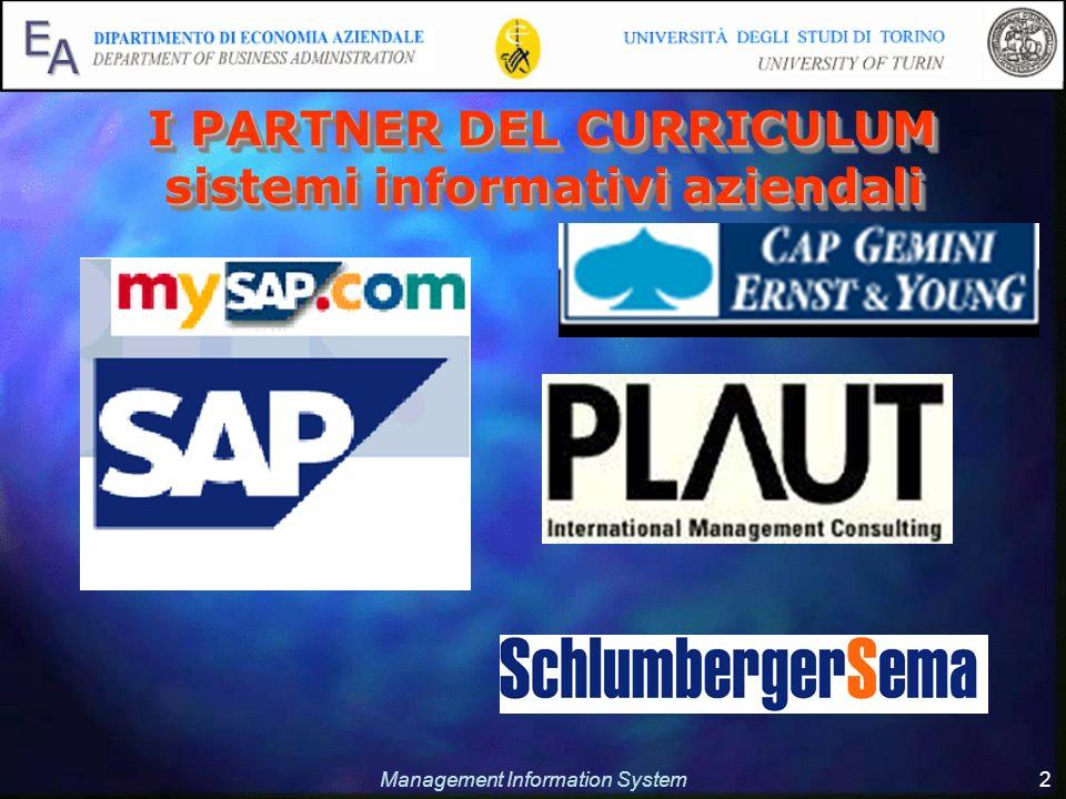 Management Information System 2 I PARTNER DEL CURRICULUM sistemi informativi aziendali