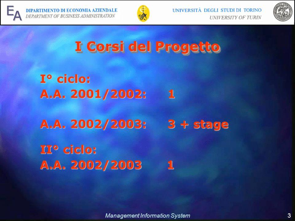 Management Information System 3 I Corsi del Progetto I° ciclo: A.A.