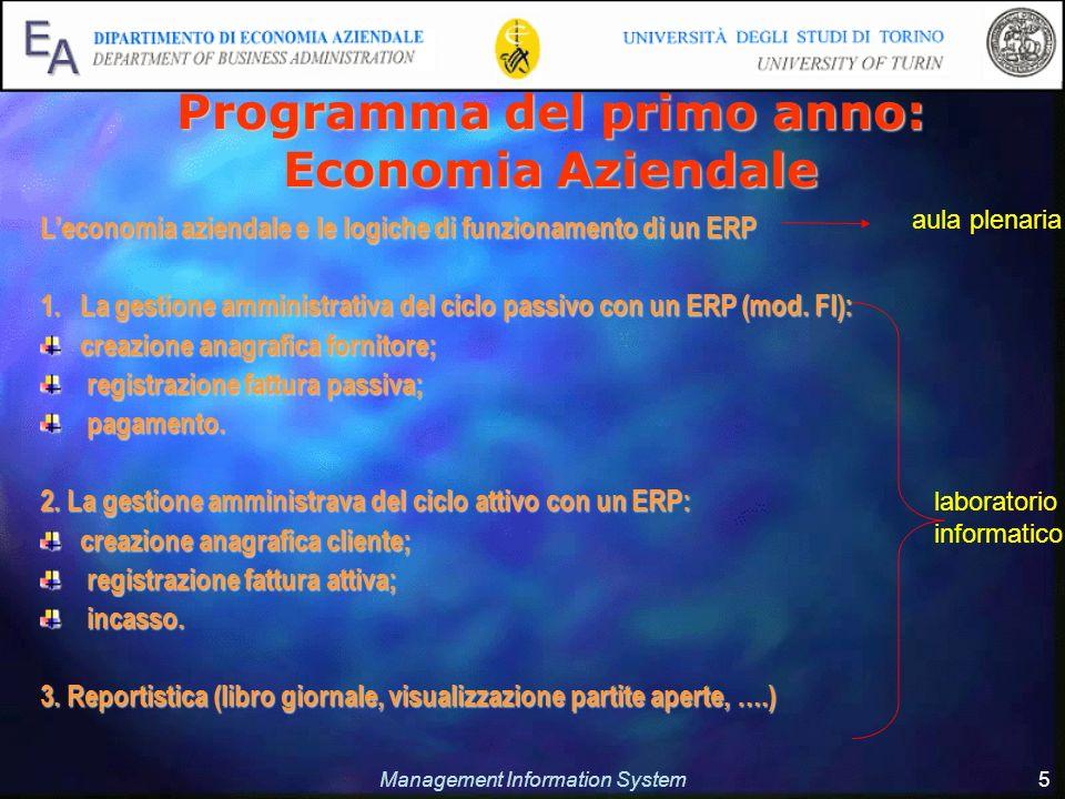 Management Information System 5 Programma del primo anno: Economia Aziendale Leconomia aziendale e le logiche di funzionamento di un ERP 1.La gestione