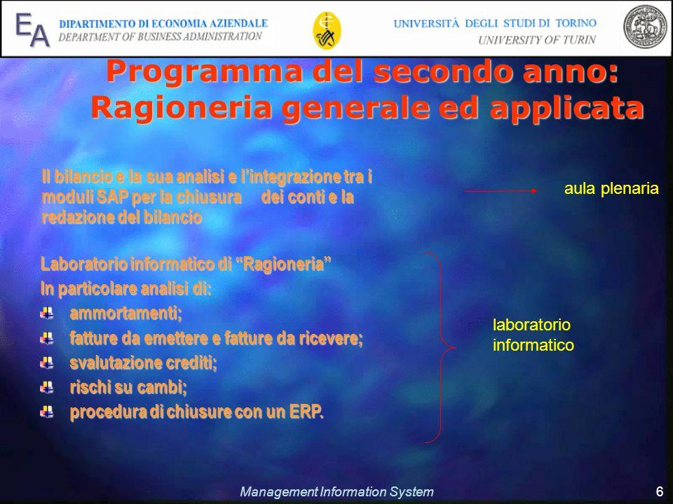 Management Information System 6 Il bilancio e la sua analisi e lintegrazione tra i moduli SAP per la chiusura dei conti e la redazione del bilancio Il
