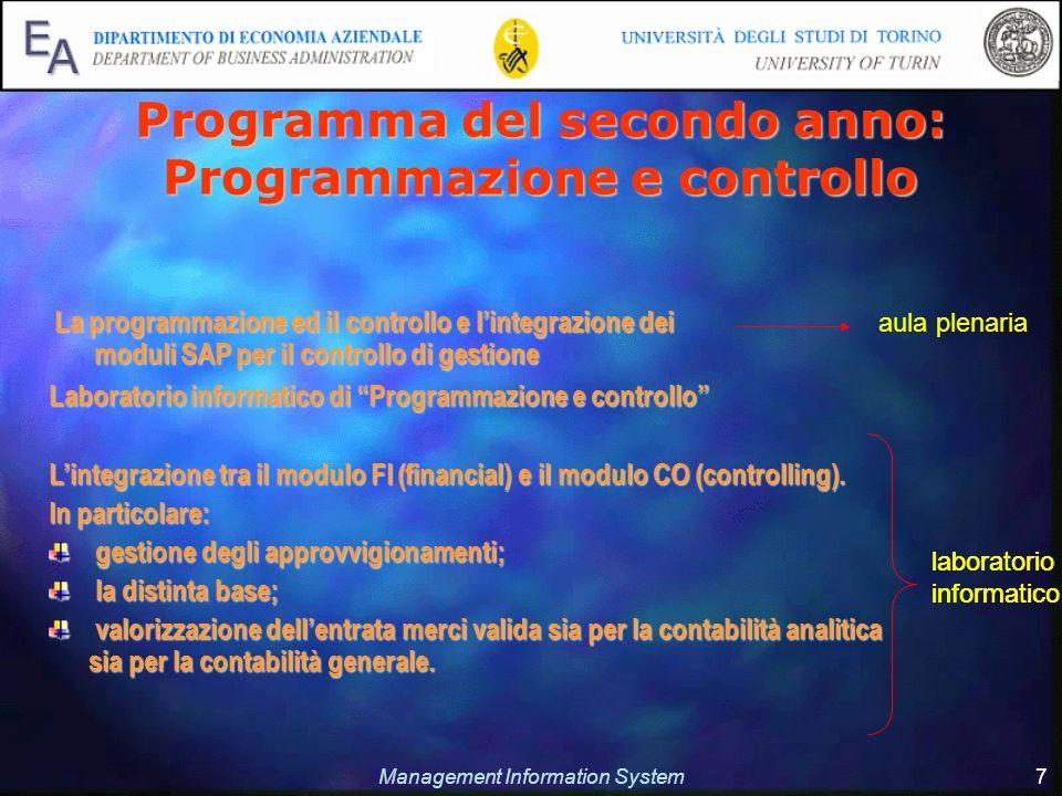 Management Information System 7 Programma del secondo anno: Programmazione e controllo Laboratorio informatico di Programmazione e controllo Lintegraz