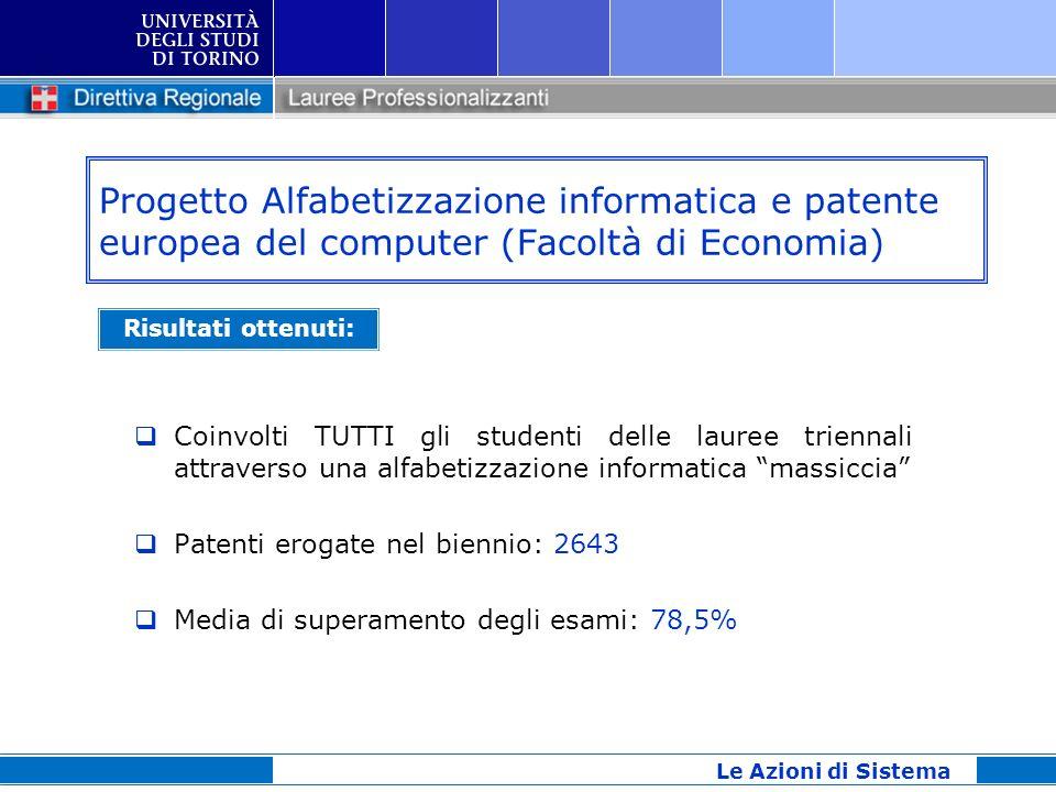 Progetto Alfabetizzazione informatica e patente europea del computer (Facoltà di Economia) Coinvolti TUTTI gli studenti delle lauree triennali attrave
