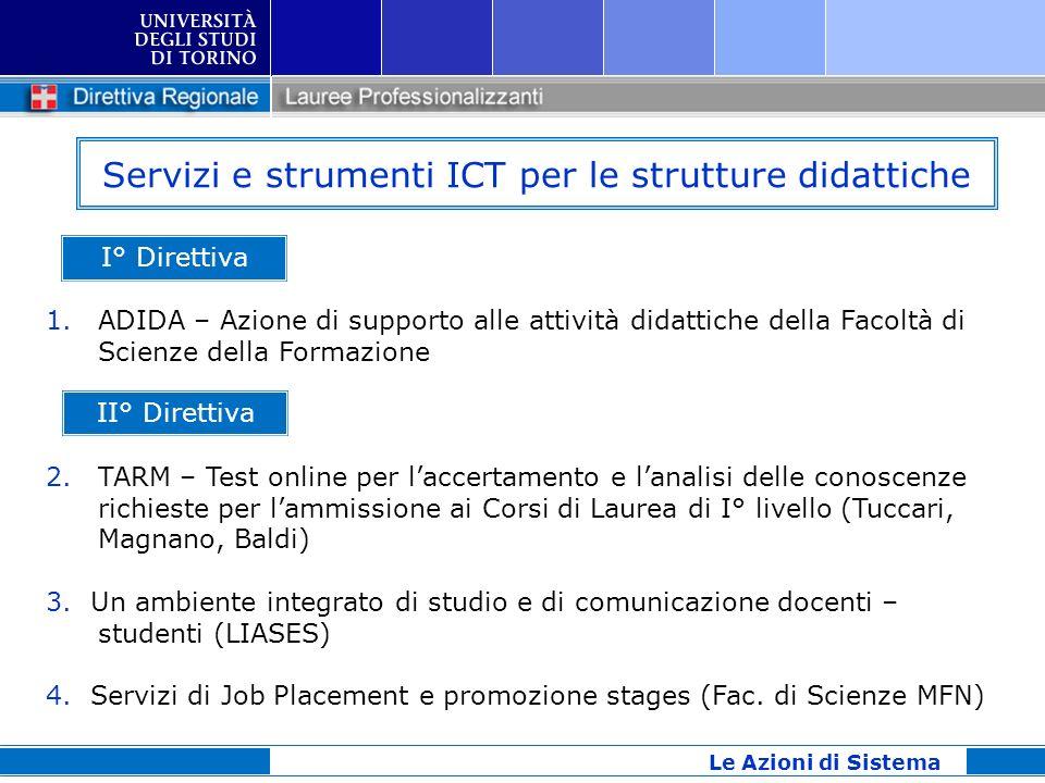 Servizi e strumenti ICT per le strutture didattiche I° Direttiva 1.ADIDA – Azione di supporto alle attività didattiche della Facoltà di Scienze della