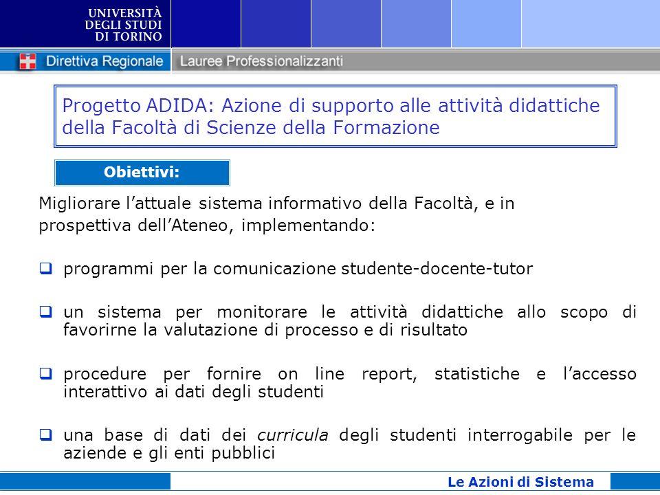 Progetto ADIDA: Azione di supporto alle attività didattiche della Facoltà di Scienze della Formazione Migliorare lattuale sistema informativo della Fa