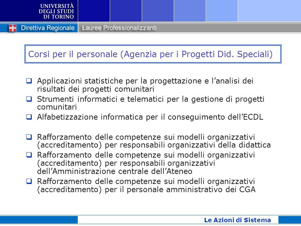 Corsi per il personale (Agenzia per i Progetti Did. Speciali) Applicazioni statistiche per la progettazione e lanalisi dei risultati dei progetti comu
