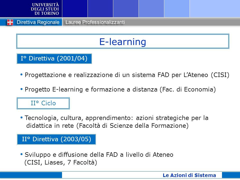 E-learning Le Azioni di Sistema I° Direttiva (2001/04) Progettazione e realizzazione di un sistema FAD per LAteneo (CISI) Progetto E-learning e formaz