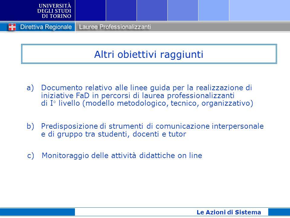 Altri obiettivi raggiunti Le Azioni di Sistema a)Documento relativo alle linee guida per la realizzazione di iniziative FaD in percorsi di laurea prof