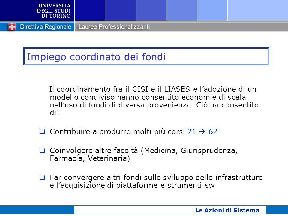 Impiego coordinato dei fondi Il coordinamento fra il CISI e il LIASES e ladozione di un modello condiviso hanno consentito economie di scala nelluso d