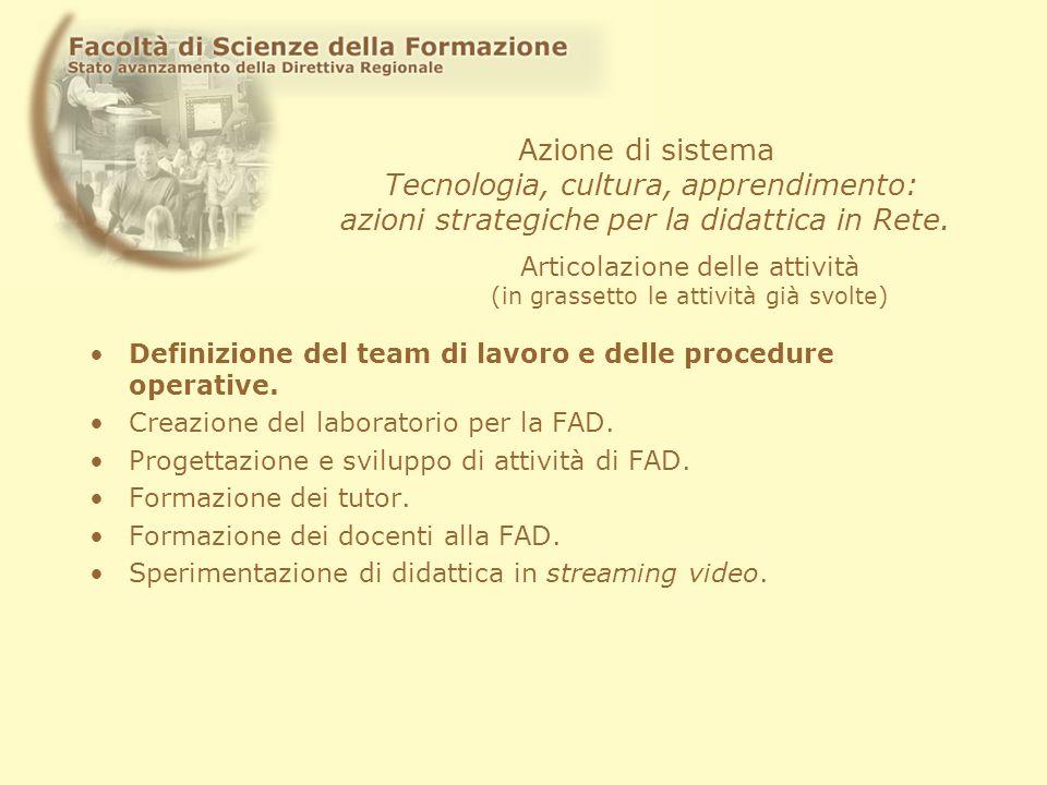 Azione di sistema Tecnologia, cultura, apprendimento: azioni strategiche per la didattica in Rete. Definizione del team di lavoro e delle procedure op