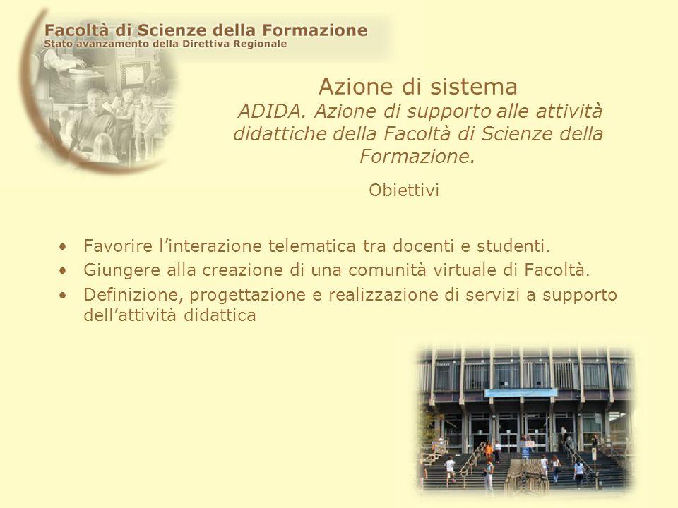 Azione di sistema ADIDA. Azione di supporto alle attività didattiche della Facoltà di Scienze della Formazione. Favorire linterazione telematica tra d