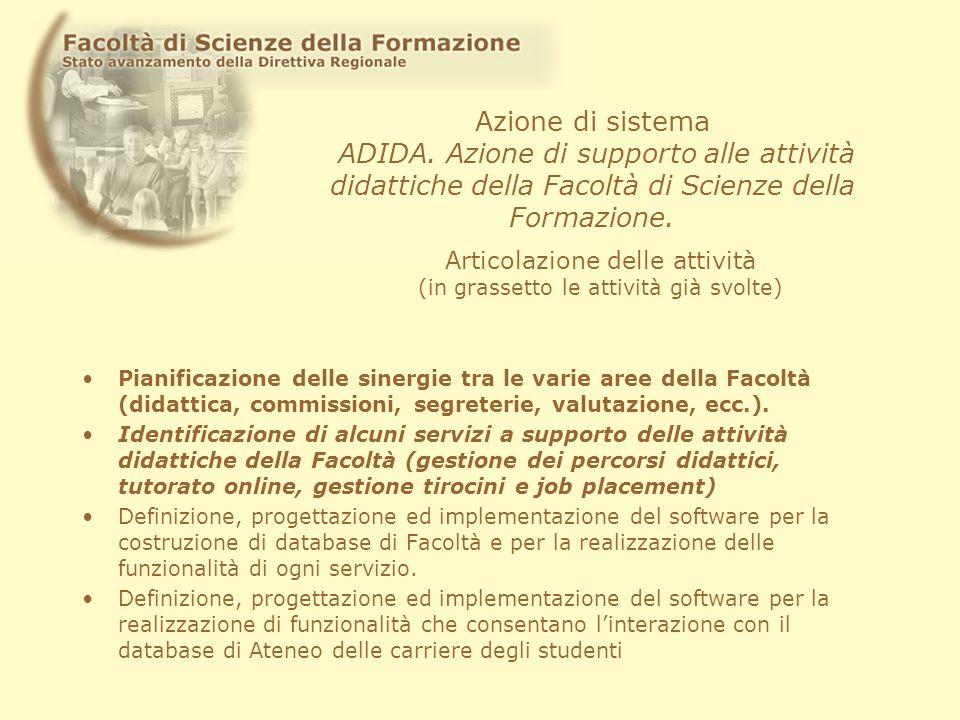 Azione di sistema ADIDA. Azione di supporto alle attività didattiche della Facoltà di Scienze della Formazione. Pianificazione delle sinergie tra le v