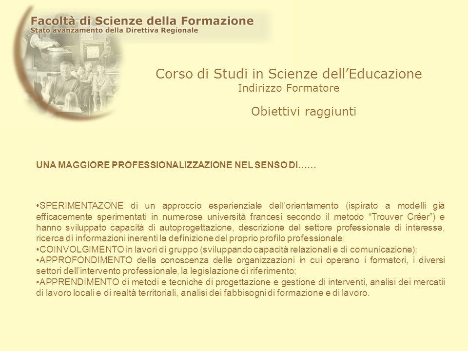 Corso di Studi in Scienze dellEducazione Indirizzo Formatore Obiettivi raggiunti SPERIMENTAZONE di un approccio esperienziale dellorientamento (ispira