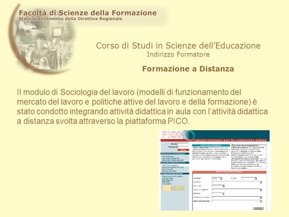 Corso di Studi in Scienze dellEducazione Indirizzo Formatore Formazione a Distanza Il modulo di Sociologia del lavoro (modelli di funzionamento del me