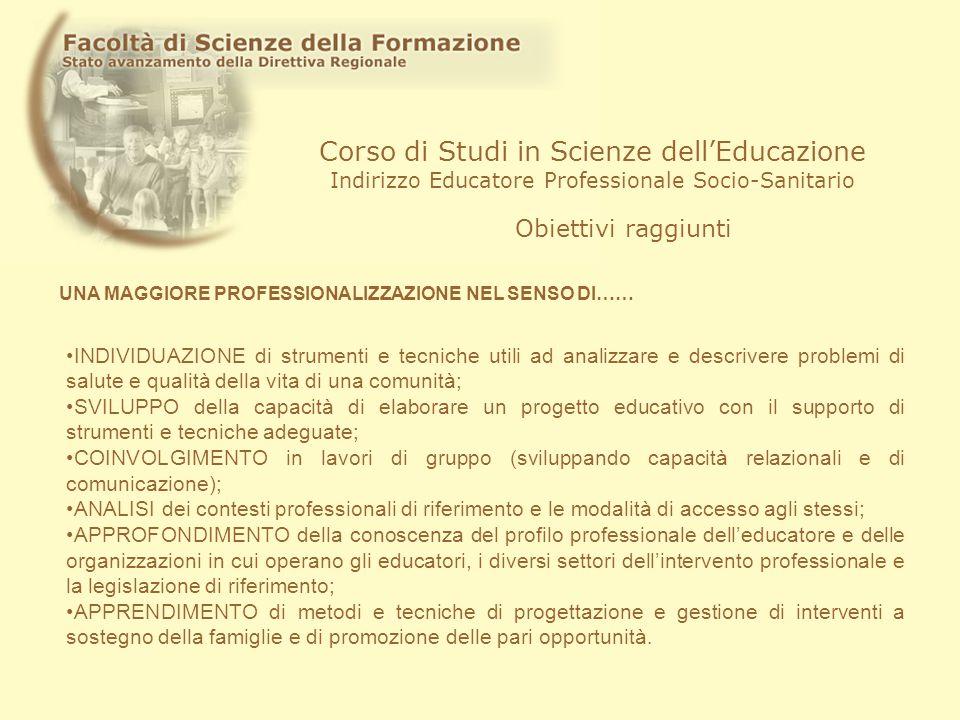 Corso di Studi in Scienze dellEducazione Indirizzo Educatore Professionale Socio-Sanitario Obiettivi raggiunti INDIVIDUAZIONE di strumenti e tecniche