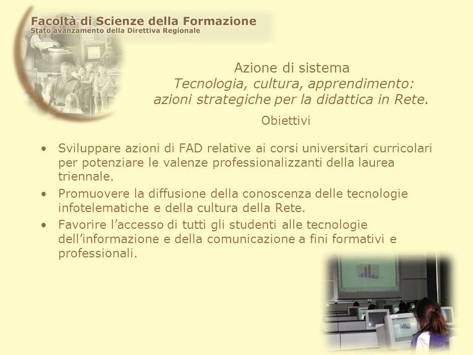 Azione di sistema Tecnologia, cultura, apprendimento: azioni strategiche per la didattica in Rete. Sviluppare azioni di FAD relative ai corsi universi