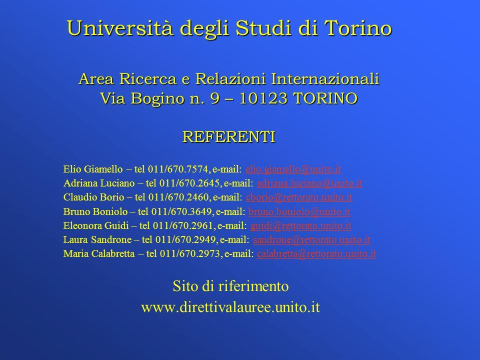 Università degli Studi di Torino Area Ricerca e Relazioni Internazionali Via Bogino n.