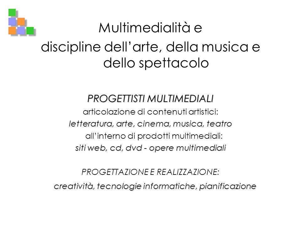 Multimedialità e discipline dellarte, della musica e dello spettacolo PROGETTISTI MULTIMEDIALI articolazione di contenuti artistici: letteratura, arte