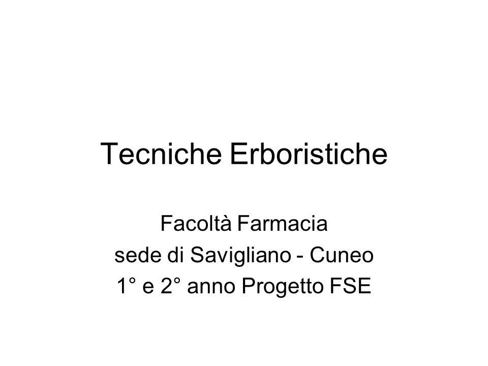 Tecniche Erboristiche Facoltà Farmacia sede di Savigliano - Cuneo 1° e 2° anno Progetto FSE