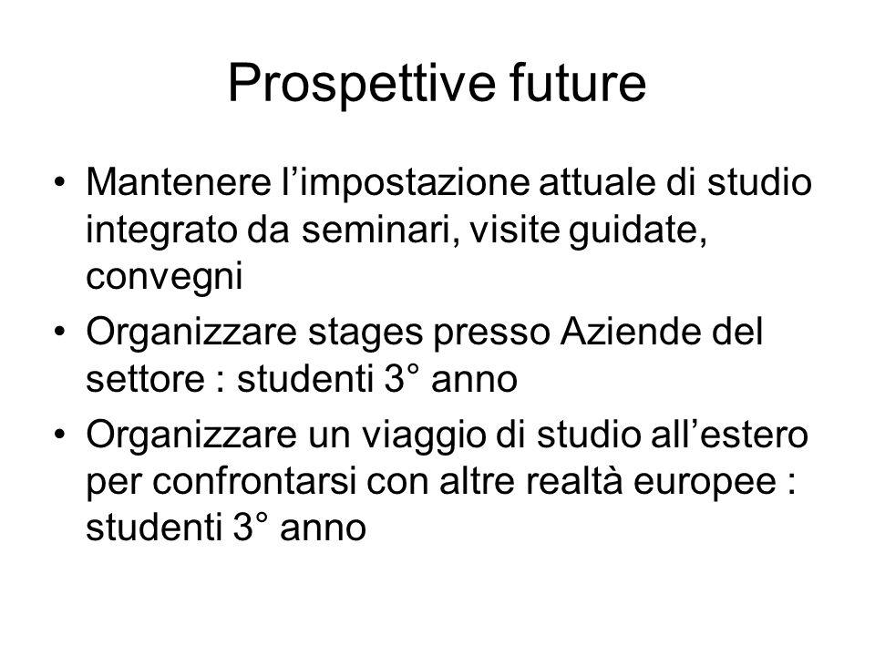 Prospettive future Mantenere limpostazione attuale di studio integrato da seminari, visite guidate, convegni Organizzare stages presso Aziende del set