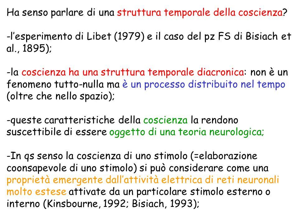 Ha senso parlare di una struttura temporale della coscienza? -lesperimento di Libet (1979) e il caso del pz FS di Bisiach et al., 1895); -la coscienza