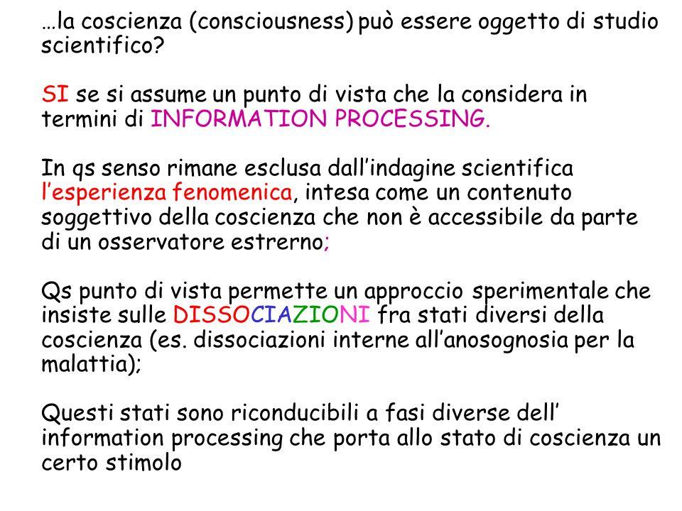 …la coscienza (consciousness) può essere oggetto di studio scientifico? SI se si assume un punto di vista che la considera in termini di INFORMATION P